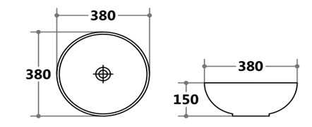 380mm Round Above Counter Basin 2