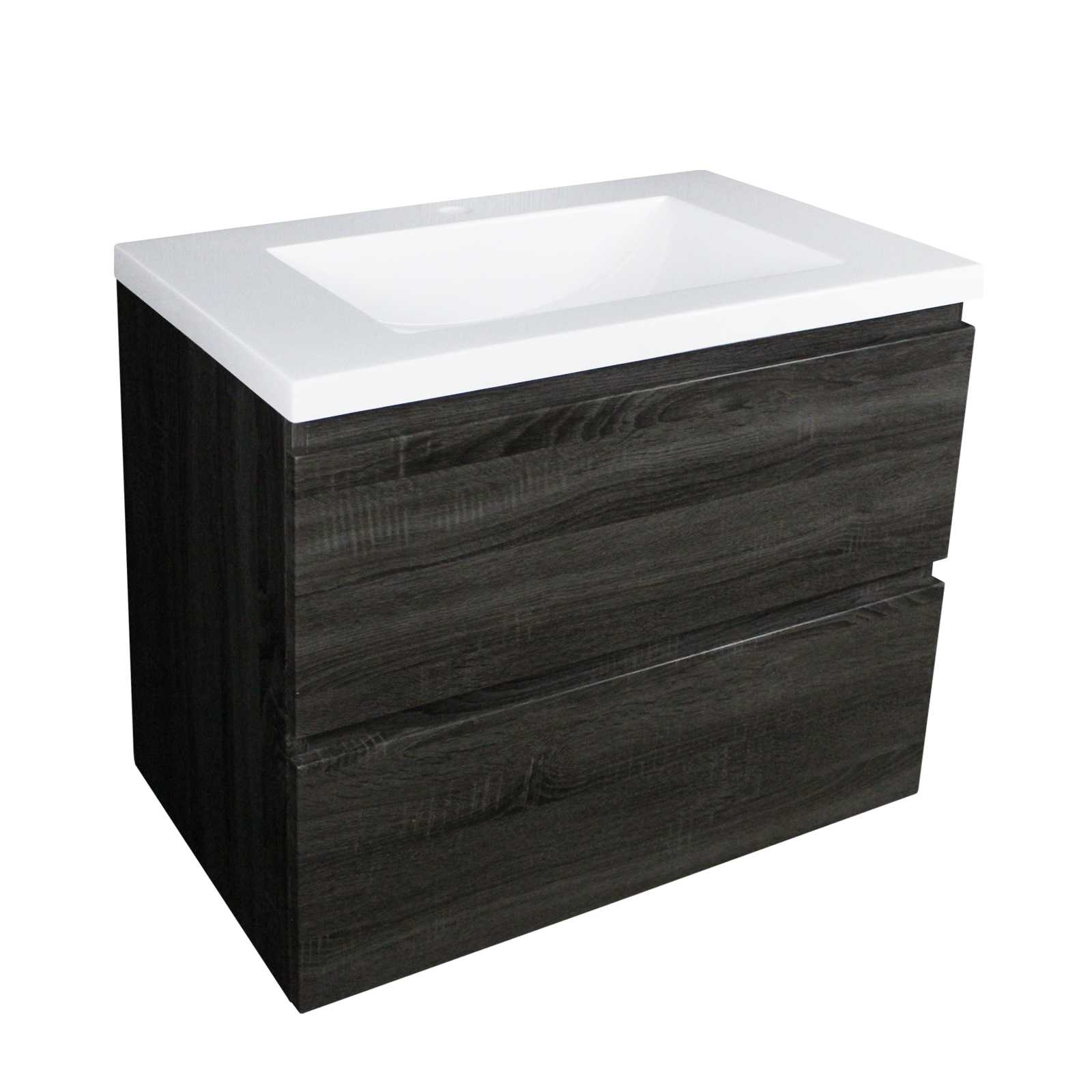 750mm Dark Grey Wood Grain Wall Hung Drawer Vanity