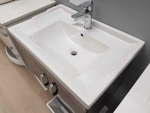 700mm Grey Wall Hung Vanity with Ceramic