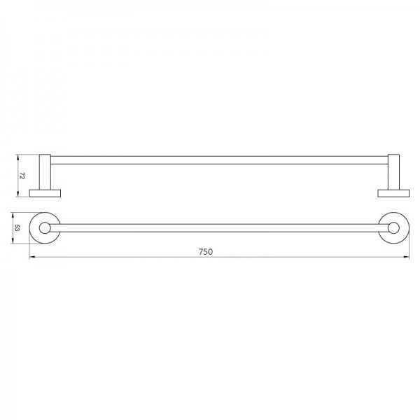 750mm Single Towel Rail (Chrome) 400 Series 2