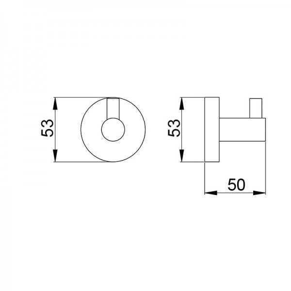 Round Single Robe Hook (Matte Black) 400 Series 2