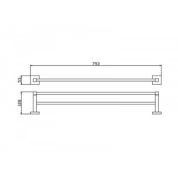 750mm Double Towel Rail 500 Series 2