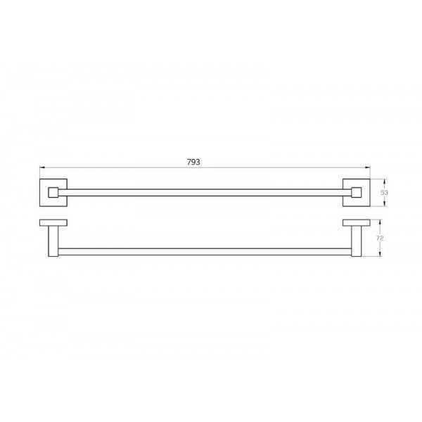 750mm Single Towel Rail 500 Series 2