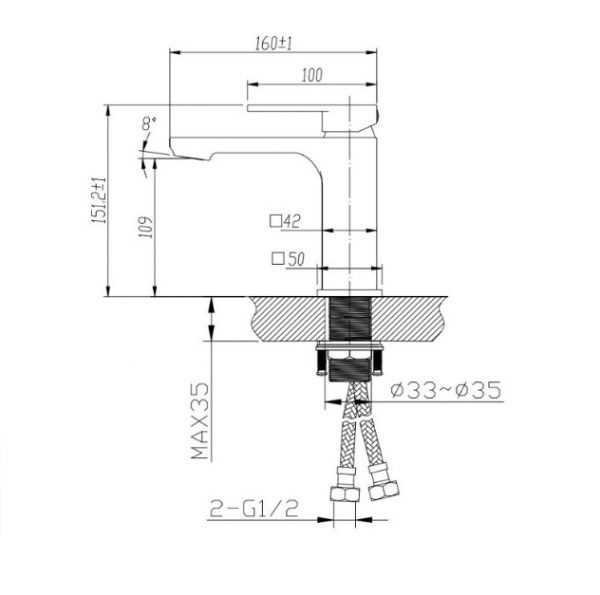 Black Basin Mixer BKM502