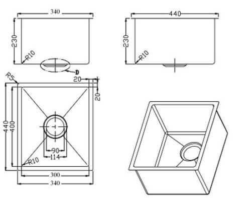 380x440x230mm Above/Undermount Single Bowl Sink 2
