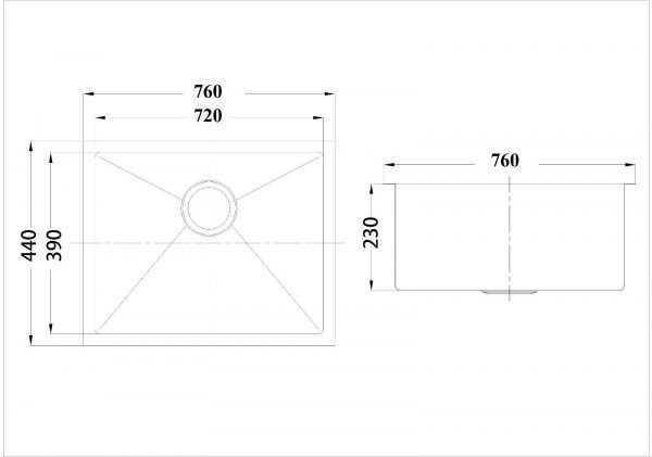 760mm Under/Overmount Single Bowl Sink 2