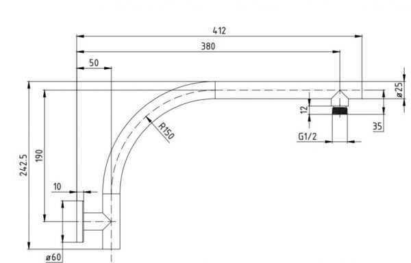 Round Shower Arm BKS02A
