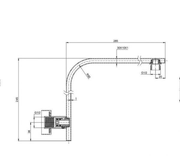 ECKIG Black Curved Square Shower Arm 2
