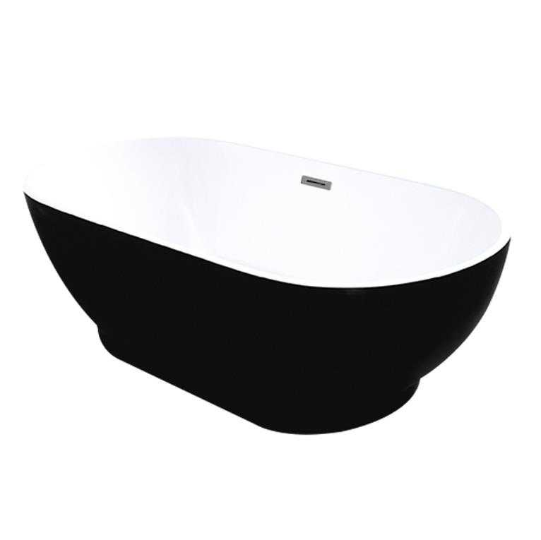 KOKO 1700mm Black and White Freestanding Bathtub