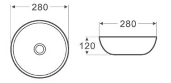 280mm Round Above Counter Basin 2