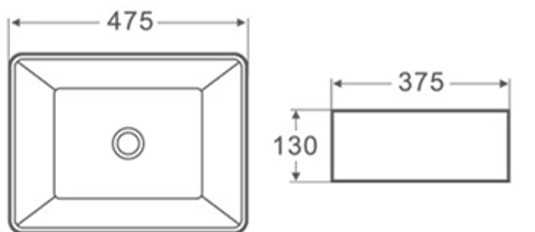 475x375mm Square Above Counter Basin 2