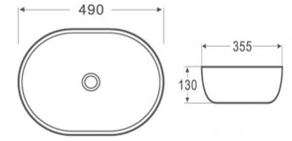 490x355mm Oval Above Counter Basin 2