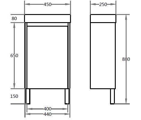 450mm PVC Waterproof Vanity on Legs (LH Hinge) 2