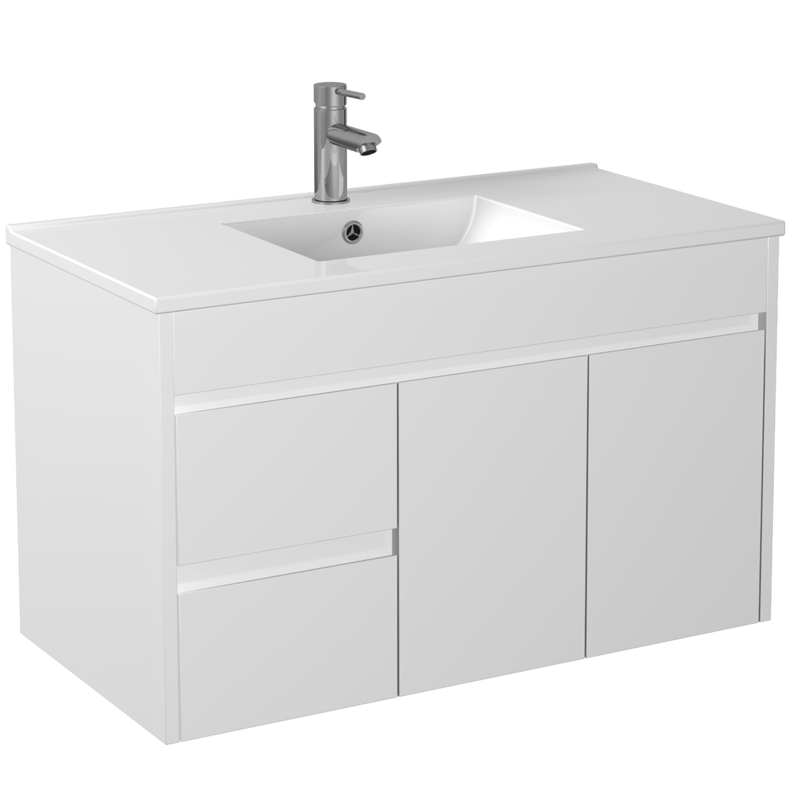 900mm PVC Waterproof Wall Hung Vanity (LH Drawers)