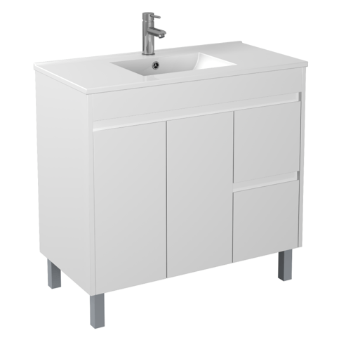 900mm PVC Waterproof Vanity on Legs (LH Drawers)