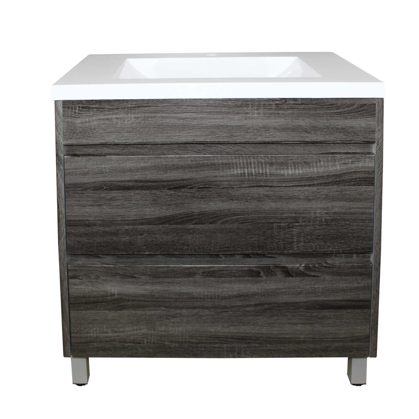 600mm Dark Grey Wood Grain Drawer Vanity on Legs
