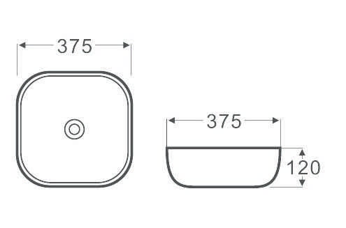 375mm Square-Round Above Counter Basin 2