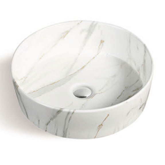 400x400mm White Marble Round Above Counter Basin