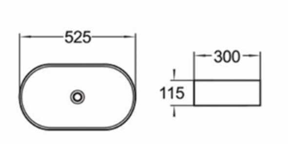 525x300mm Oval Above Counter Basin 2