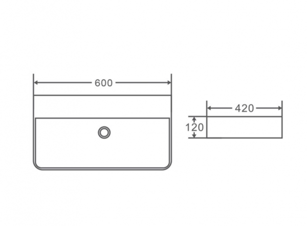 600x420mm Wallhung / Above Counter Basin (no taphole) 2