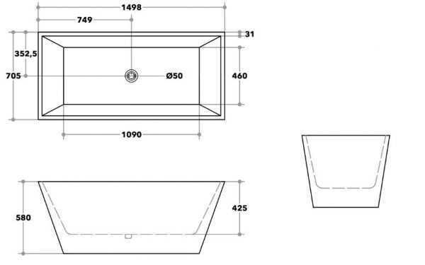 QUBIST Freestanding 1498x705x580mm