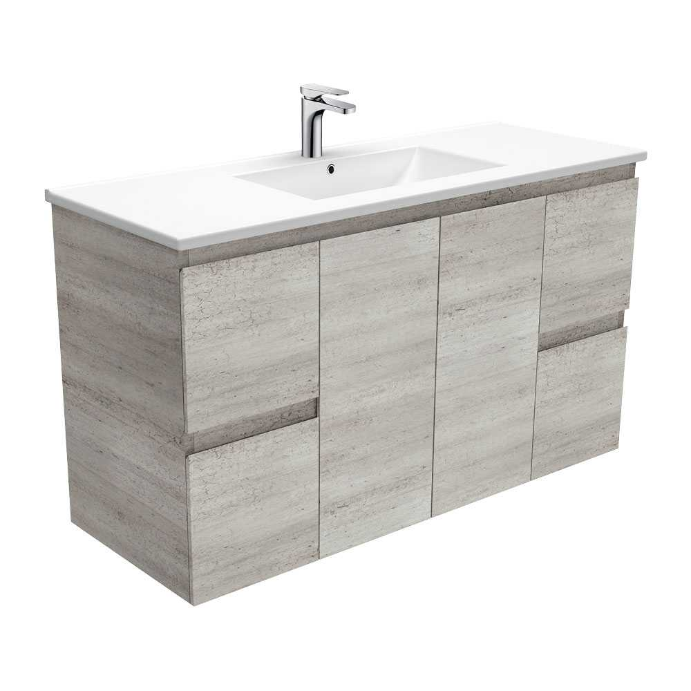 1200mm Industrial Edge Vanity with Ceramic Top
