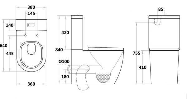 Veda 025 Tornado Flush Toilet Suite
