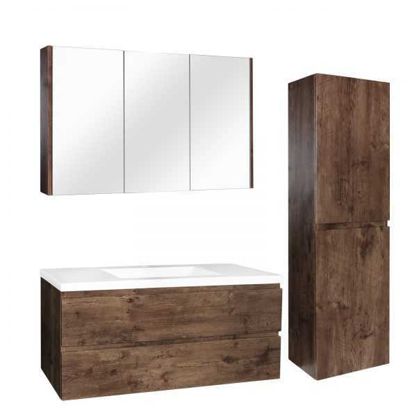 1200mm Dark Oak Wood Grain Wall Hung Drawer Vanity 2