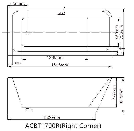 AVIS Corner 1700mm Back to Wall Bathtub (Right) 3