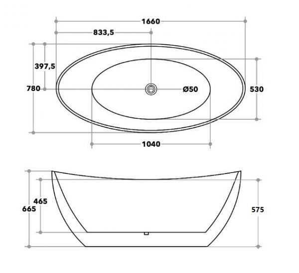 EVIE 1660mm Oval Freestanding Bathtub 2