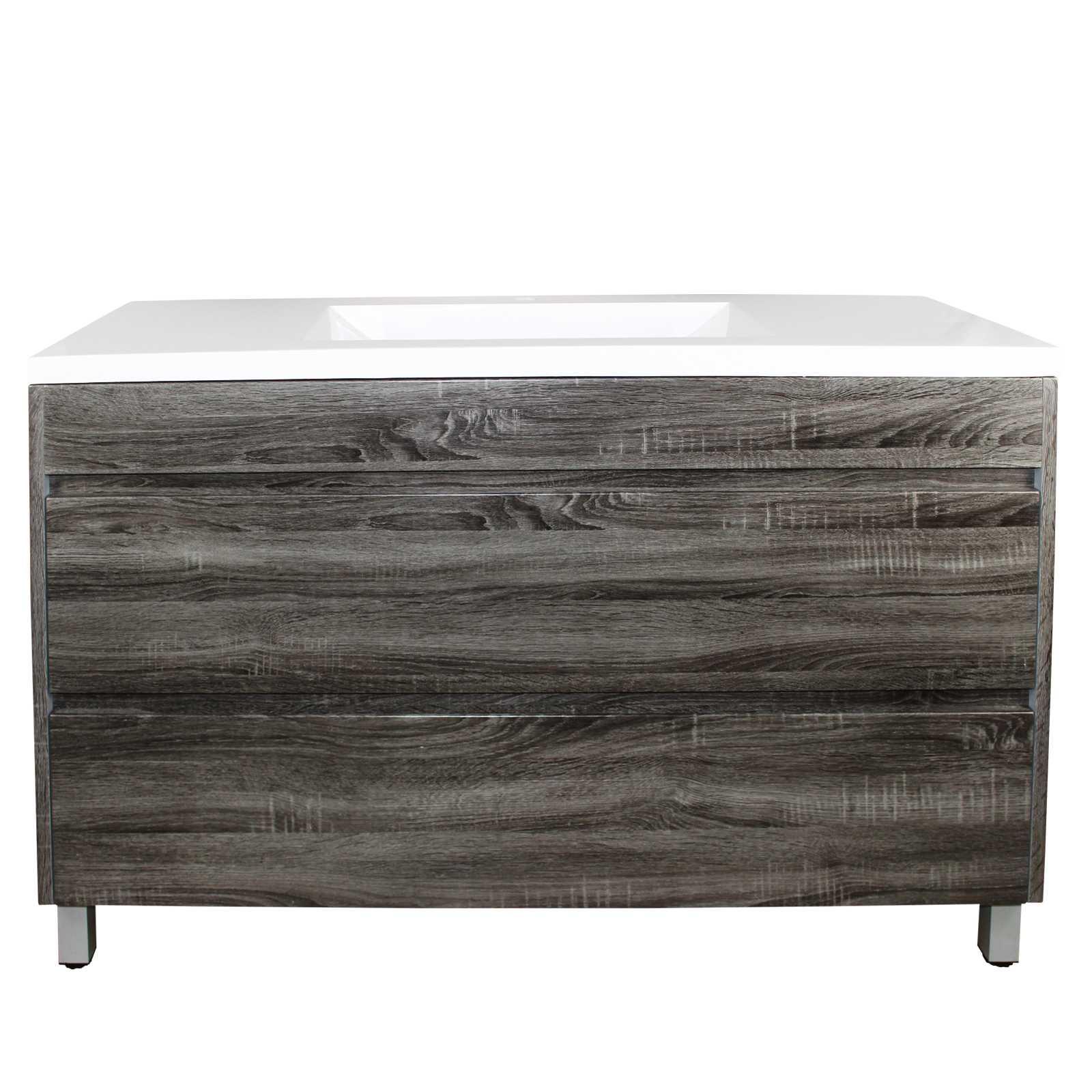 1200mm Dark Grey Wood Grain Drawer Vanity on Legs