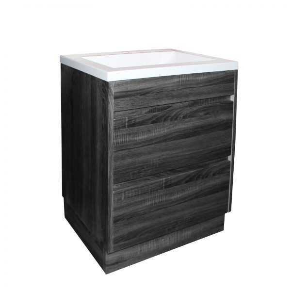 600mm Dark Grey Wood Grain Drawer Vanity on Legs 4