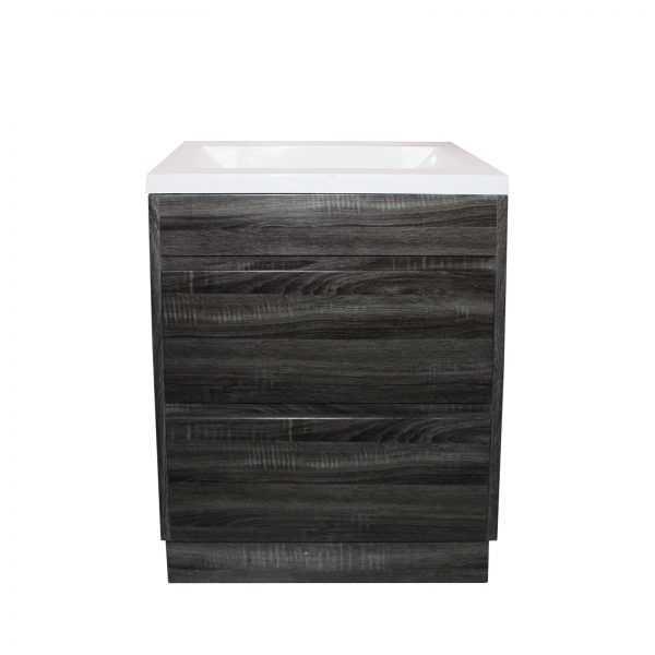 600mm Dark Grey Wood Grain Drawer Vanity on Legs 2