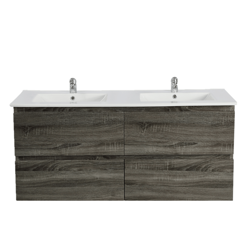 1500mm Dark Grey Wood Grain Wall Hung Drawer Vanity D/B