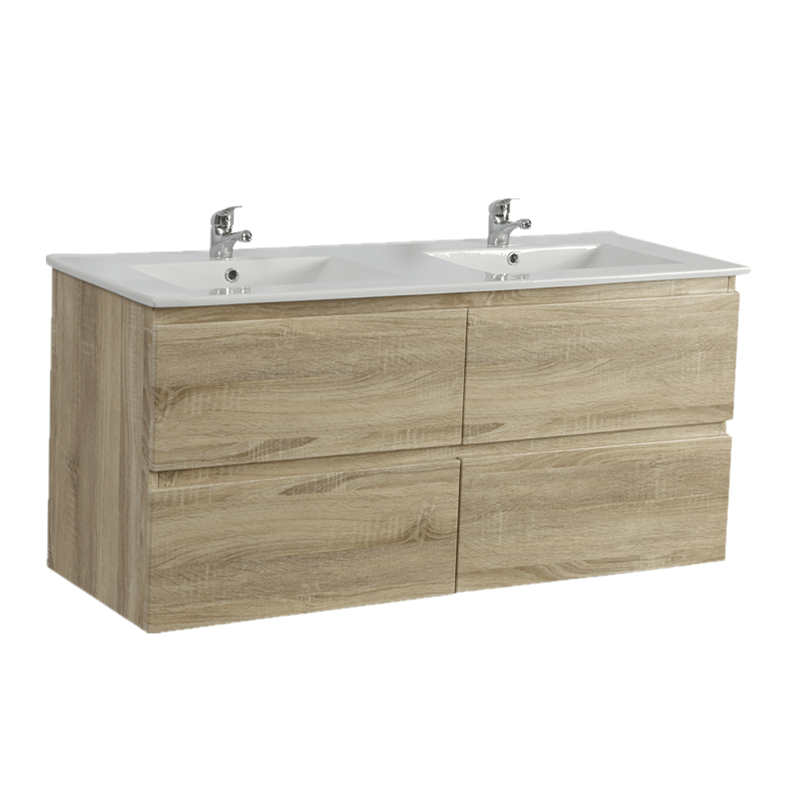1500mm White Oak Wall Hung Drawer Vanity