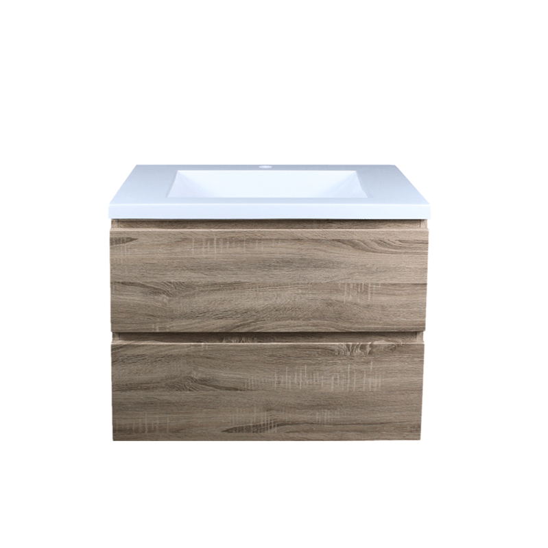 600mm White Oak Wall Hung Drawer Vanity