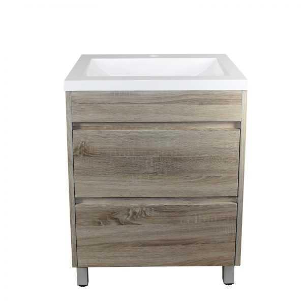 600mm White Oak Drawer Vanity on Legs