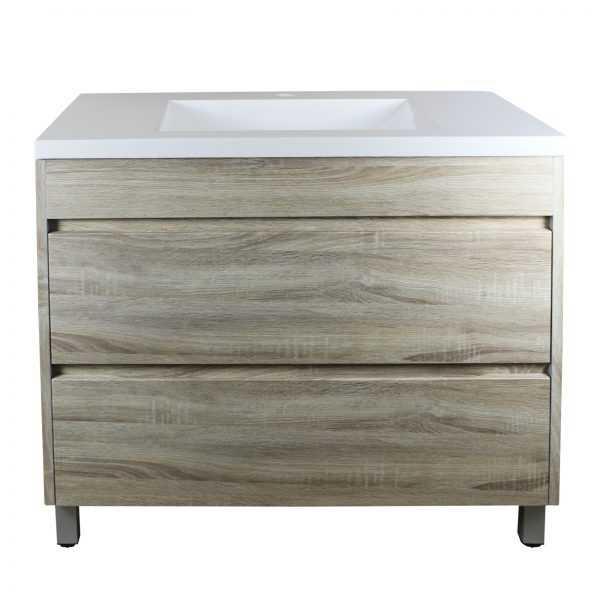 900mm White Oak Drawer Vanity on Legs
