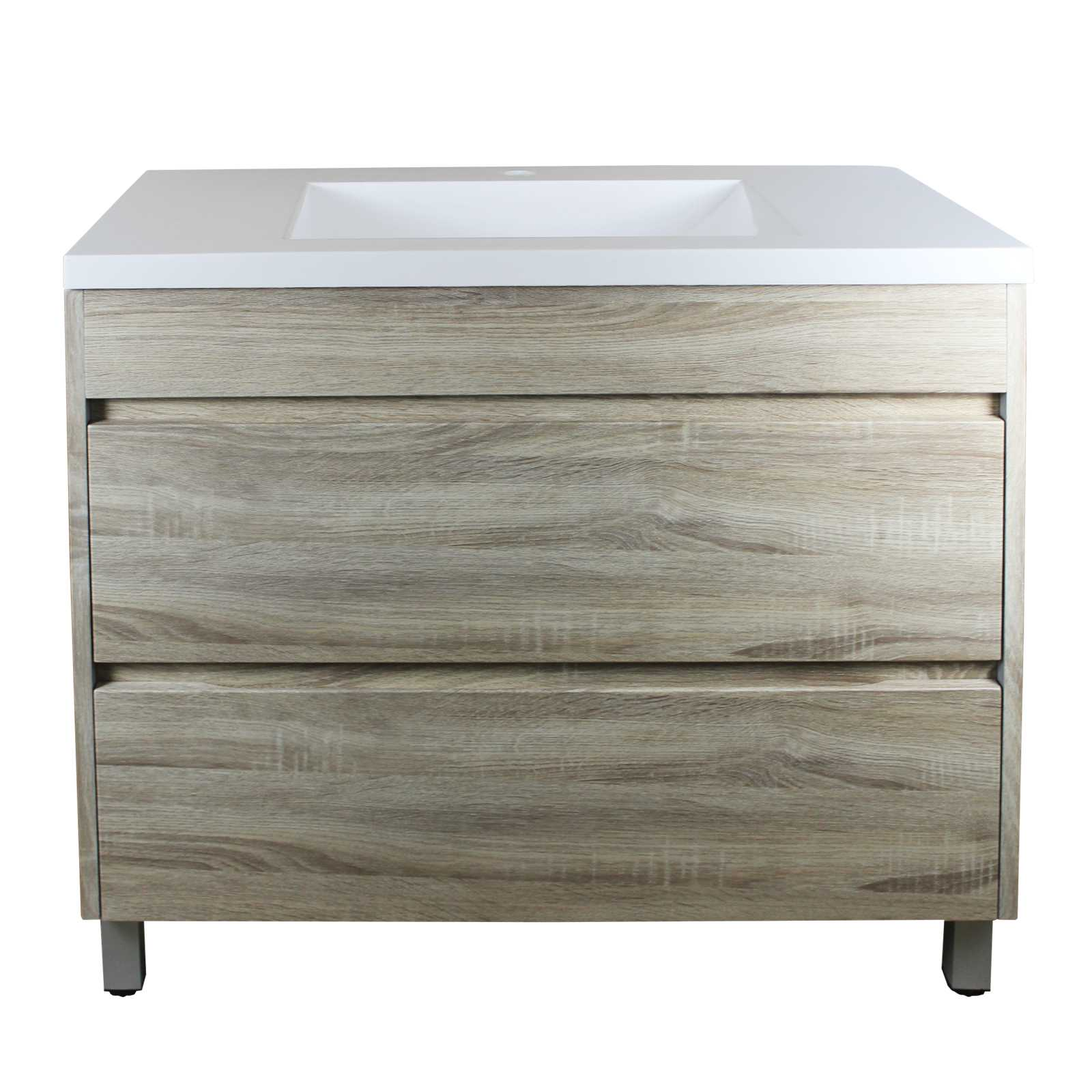 900mm White Oak Drawer Vanity on Legs