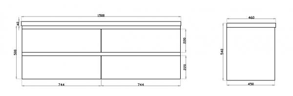 1500mm Dark Grey Wood Grain Wall Hung Drawer Vanity D/B 2