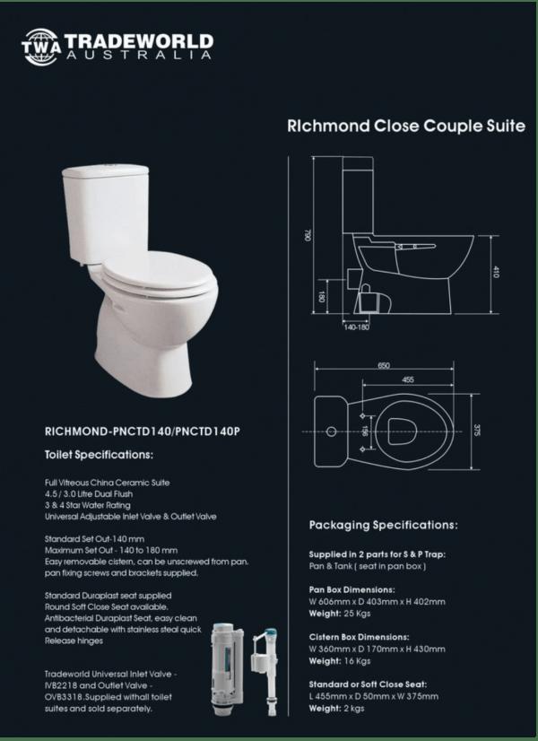 RICHMOND Closed Couple Toilet Suite 2