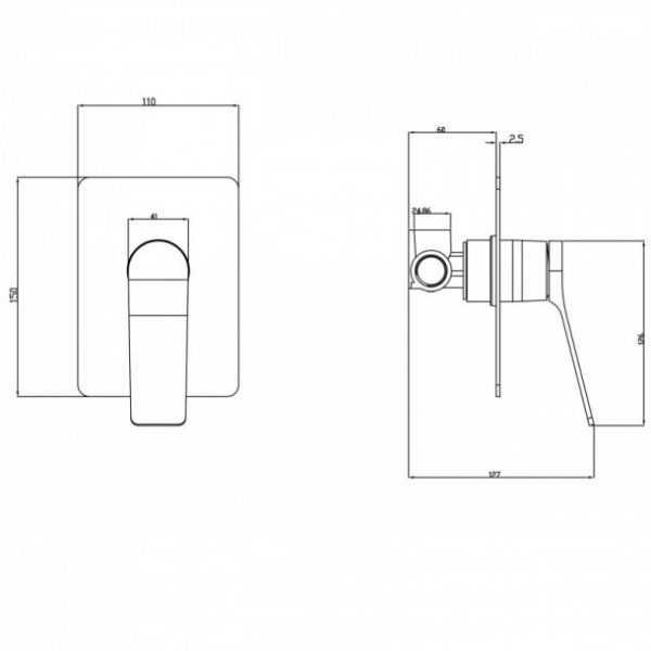 RUSHY Matte Black Shower/Bath Wall Mixer 3
