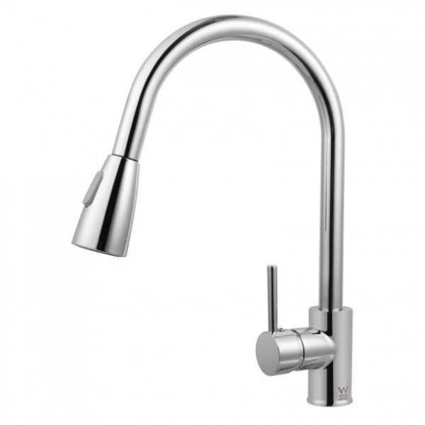 Round Chrome Pull Out Sink Mixer