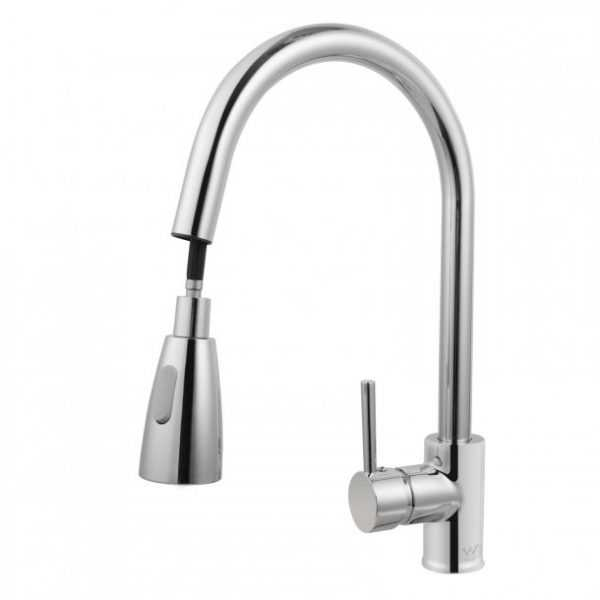Round Chrome Pull Out Sink Mixer 2
