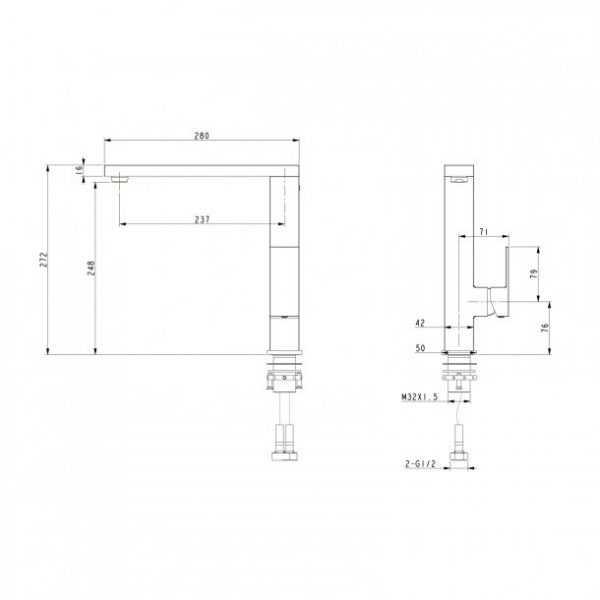 BLAZE Square Chrome Swivel Kitchen Mixer 4