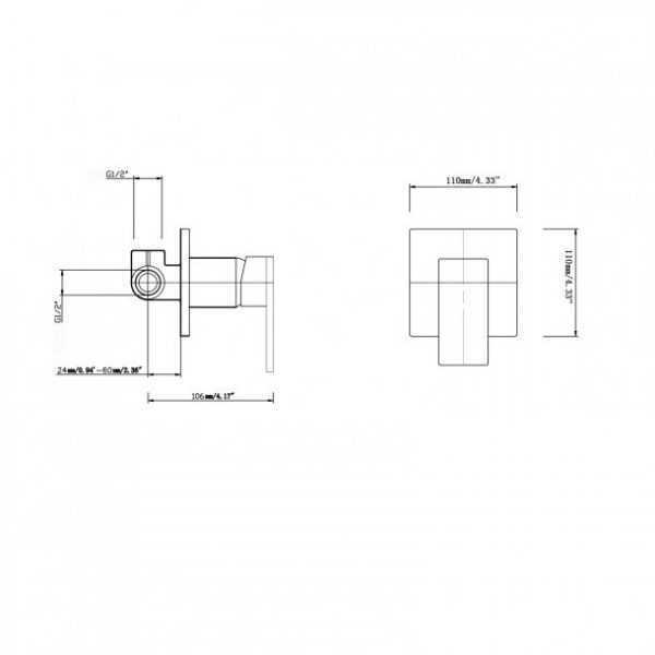 BLAZE Matte Black Shower Wall Mixer 4