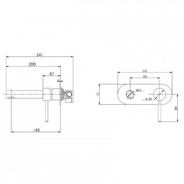 LUCID Matte Black Bath/Basin Wall Mixer with Spout 3