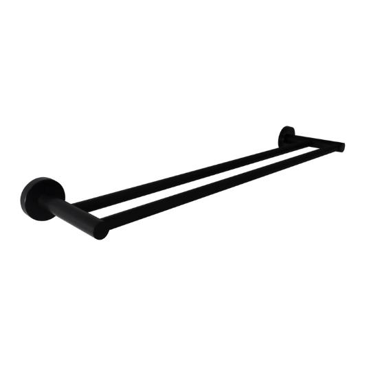 750mm Round Double Towel Rail (Matte Black) 400 Series