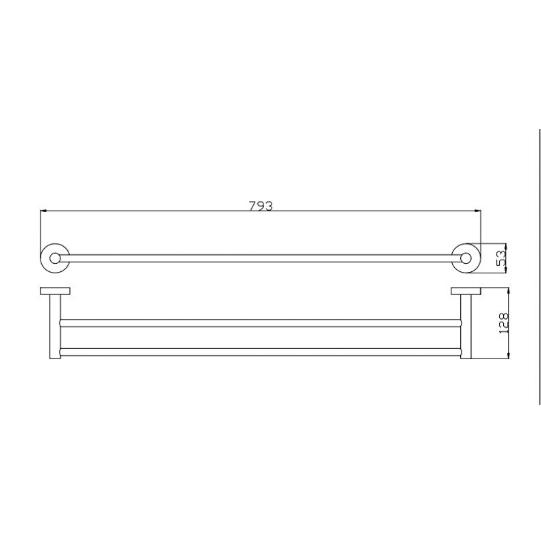 750mm Round Double Towel Rail (Matte Black) 400 Series 2