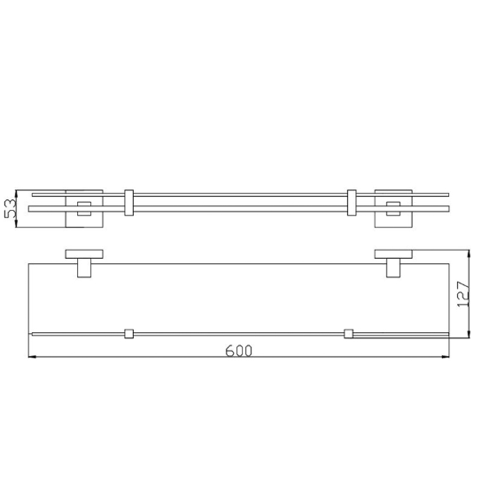Square Glass Shower Shelf 500 Series 2